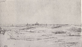 Rembrandt, A View of Haarlem Seen From Overveen